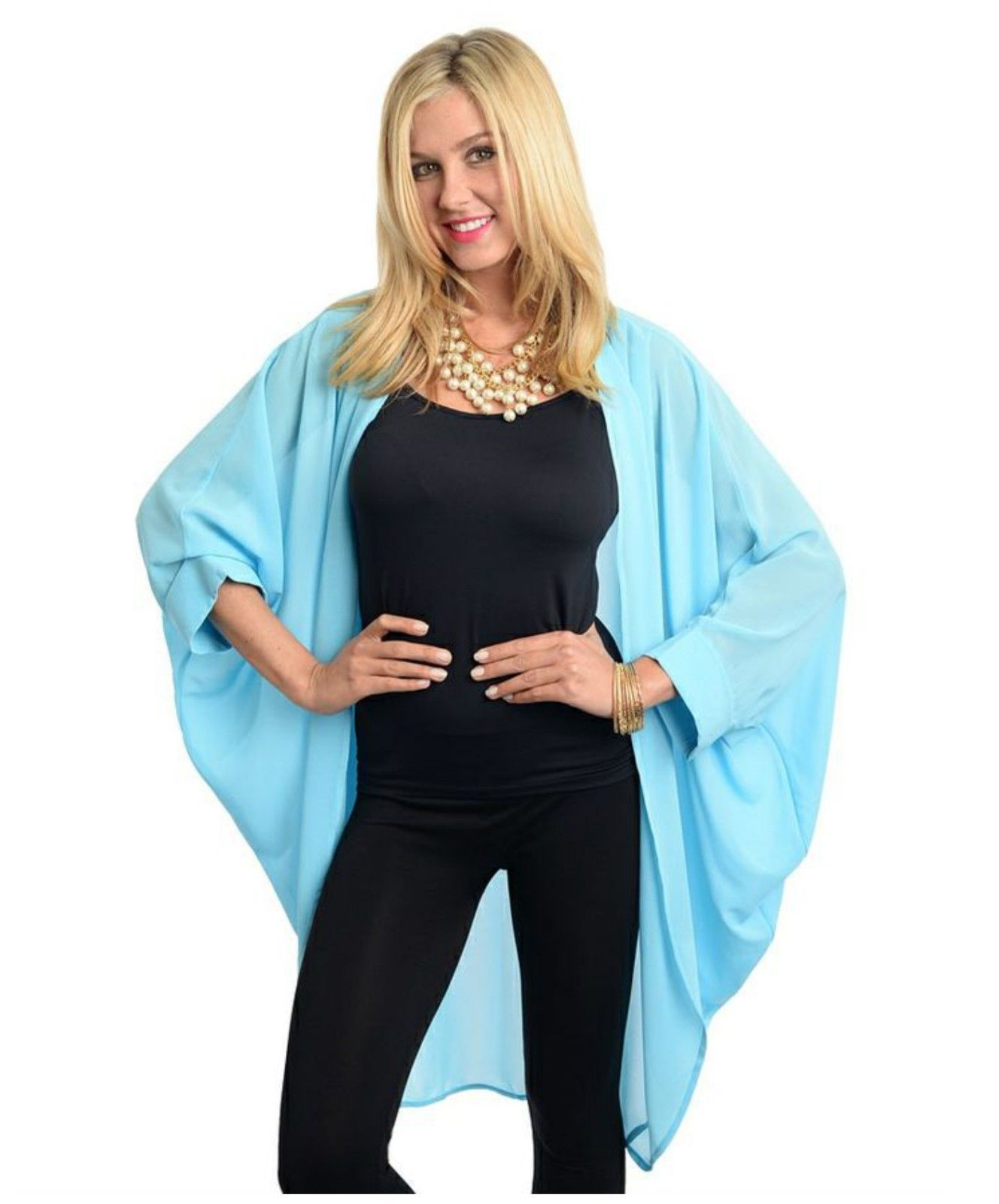 Boho Sky Blue Dolman Kimono Chiffon Fly Away x Long Hippie Gypsy ...