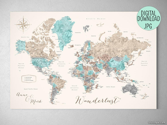 Printable push pin map, custom quote, printable file for world map ...