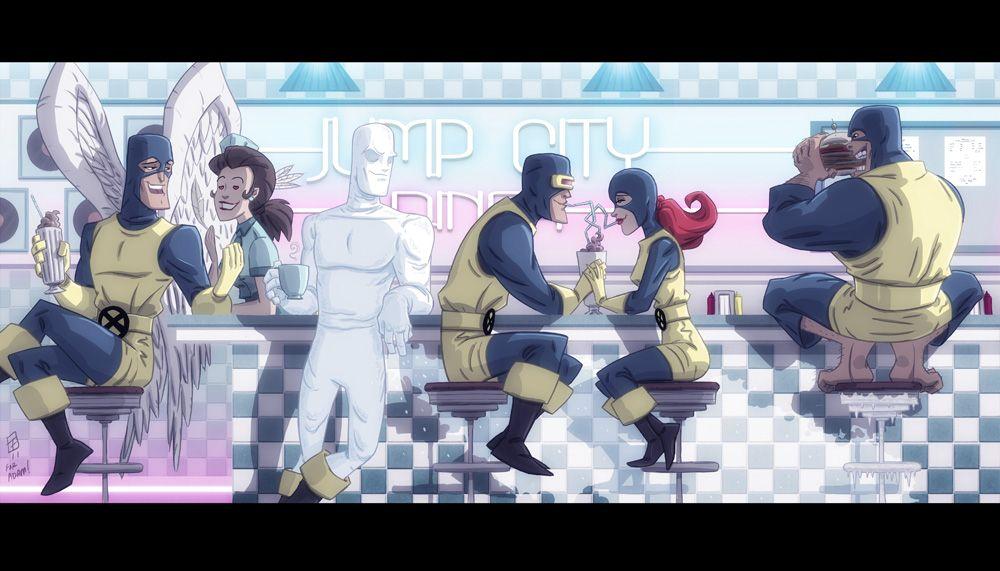 Jump City Diner X Men By Otisframpton Deviantart Com On Deviantart Geek Art Fantasy Art Illustrations Art