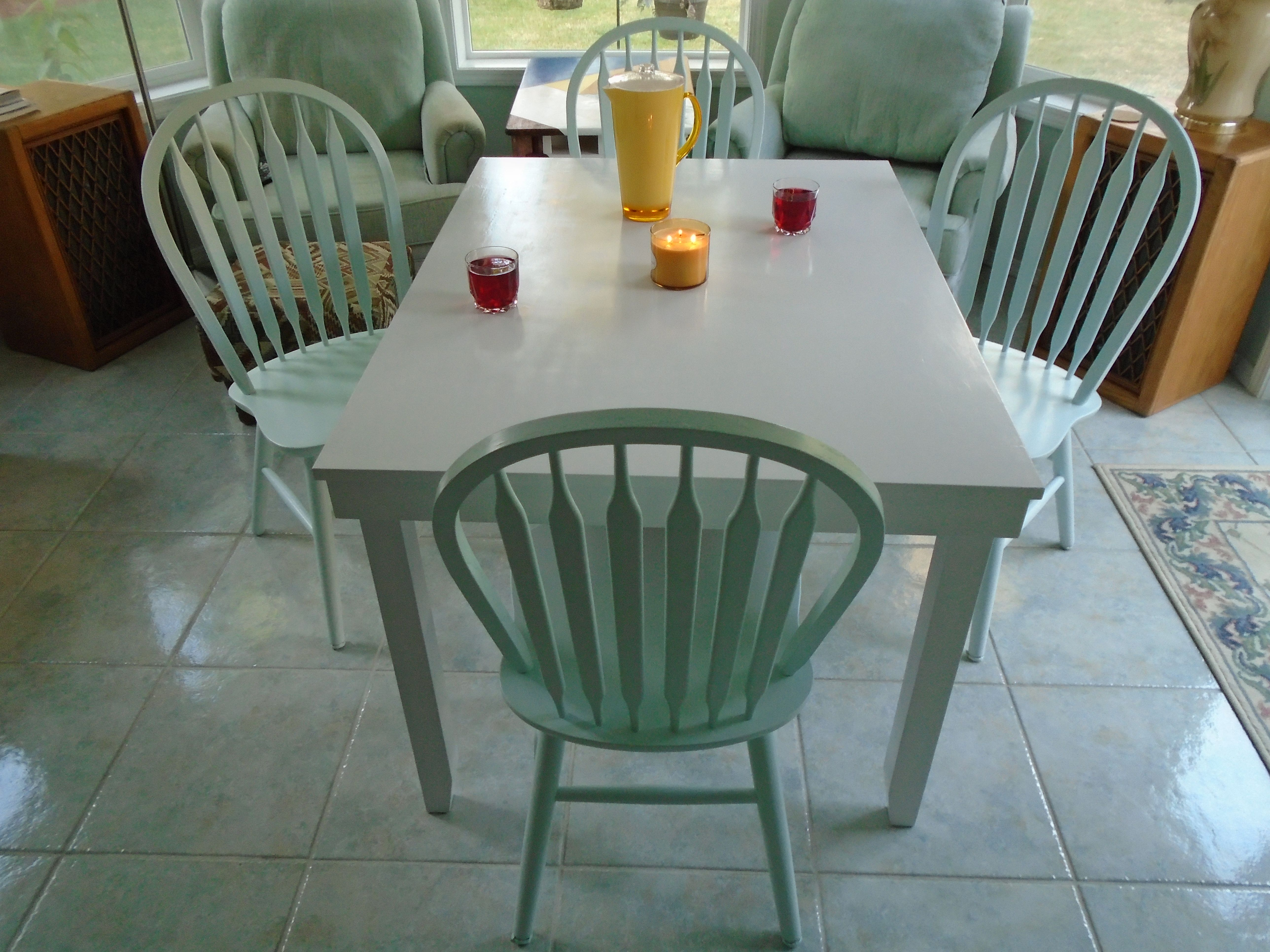 White Table With Mint Green Chairs Refurbished Furniture Green Chair Dining Room Table Mint green dining chairs
