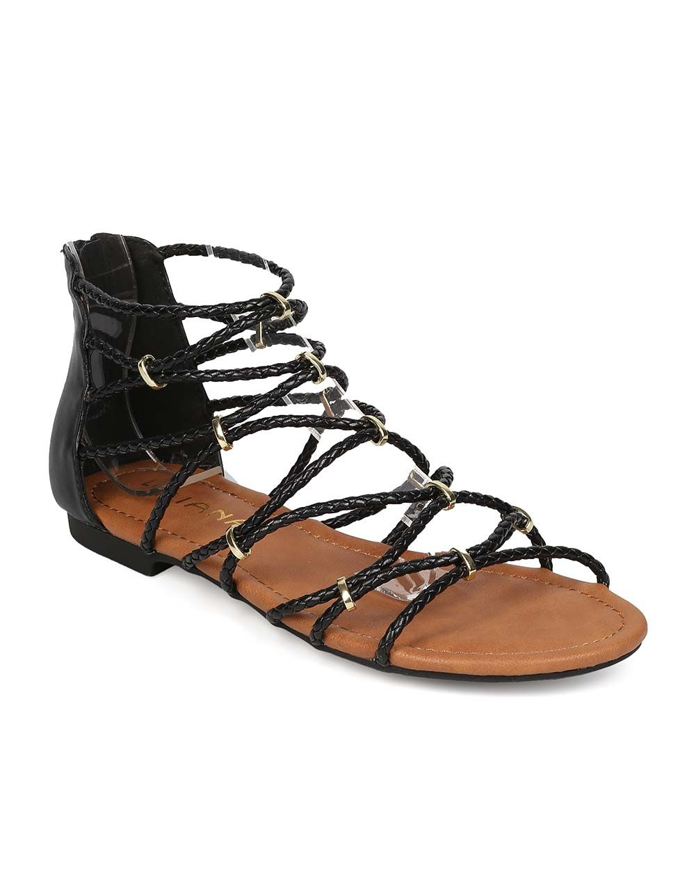 ee4107633363 New-Women-Liliana-Galaxy-12-Leatherette-Open-Toe-Strappy-Gladiator-Flat- Sandal