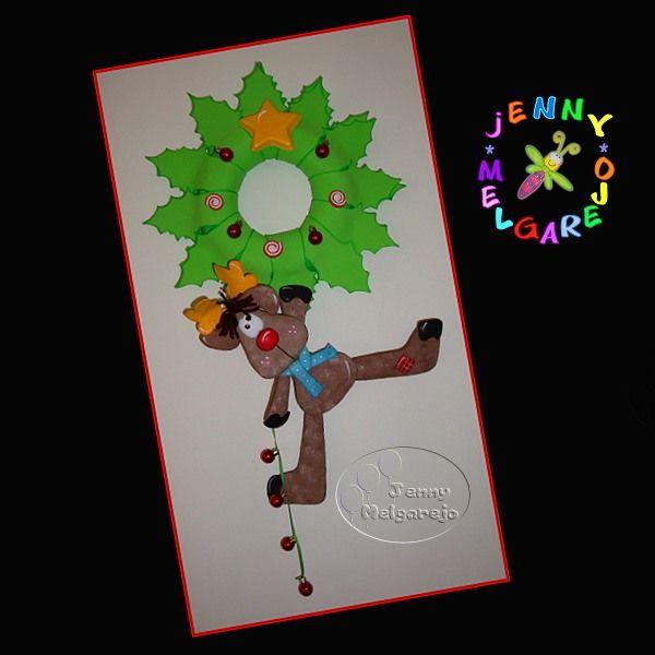 Colgante reno de Navidad #manualidades #navidad #foamy #gomaeva