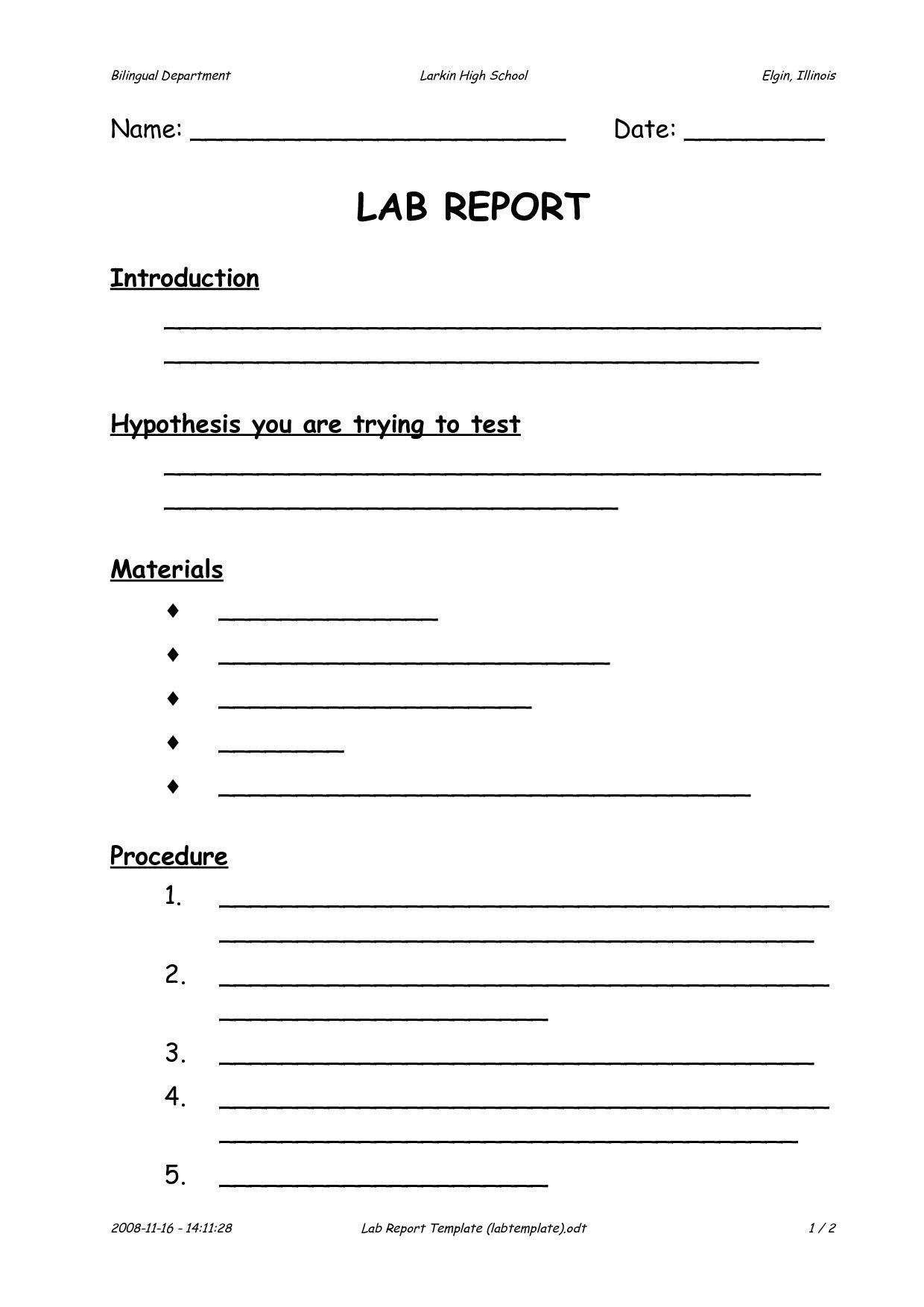 Scientific Method Worksheet High School Science Lab Report