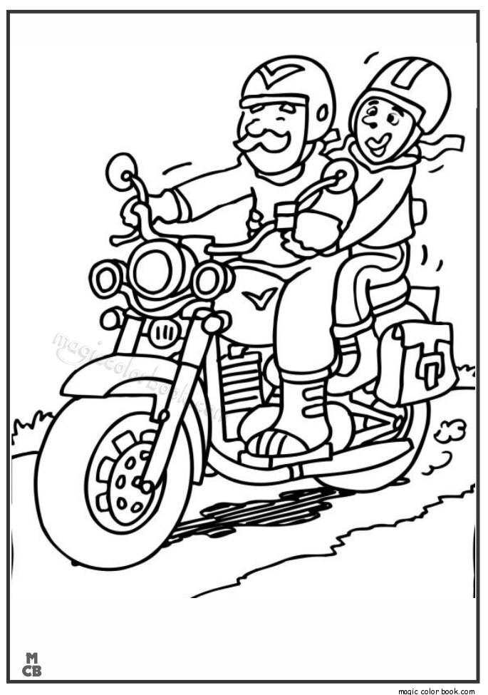 free print out grandpa drive motorcycle coloring page