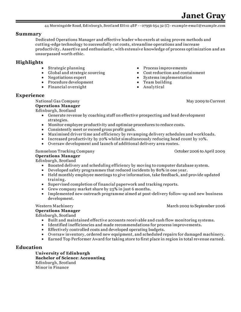 Resume Examples For Managers Operations management, Job