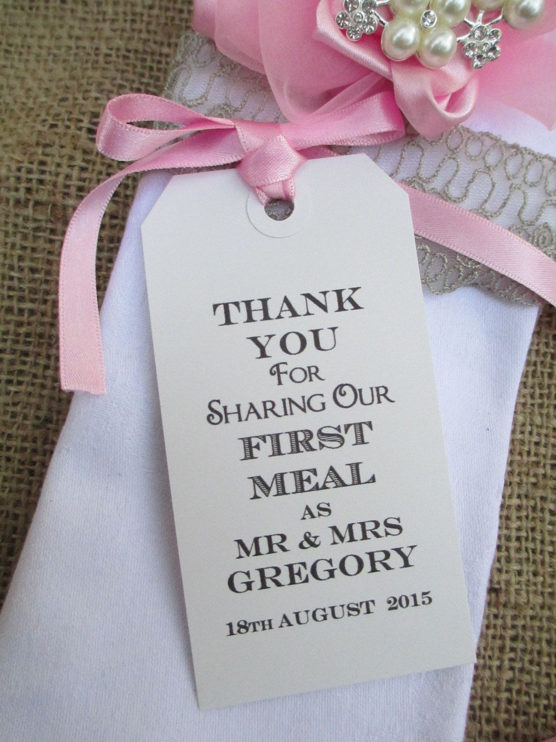 50 Wedding Napkin Ties-Wedding Table Decor Tags Personalized Thank ...