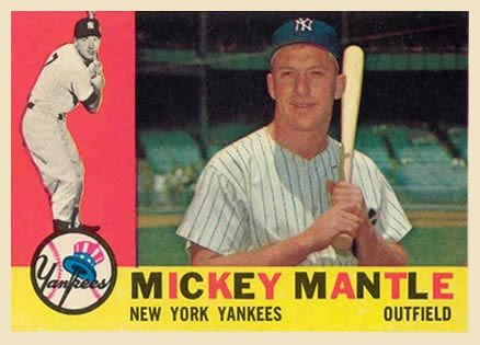 1960 Topps Mantle Mickey Mantle Old Baseball Cards Baseball Cards