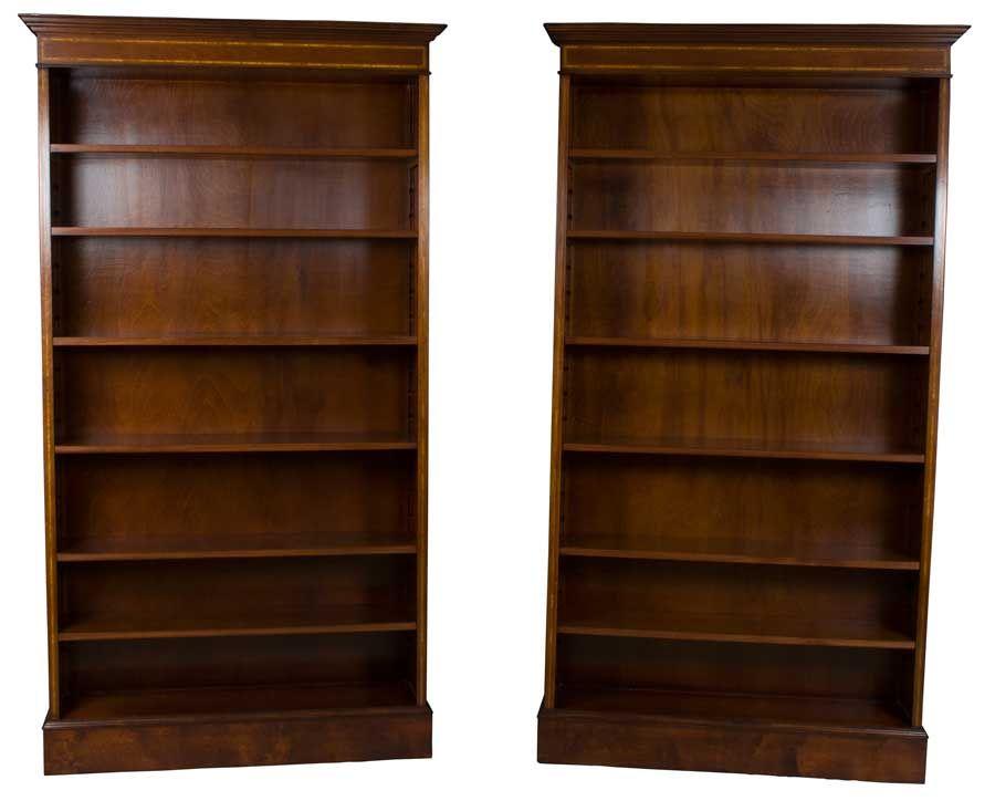 Pair Of Mahogany Antique Style Open Bookcases With Adjustable Shelves And Inlay Great For Huge Book Collections Decoracion De Muebles Decoracion De Unas
