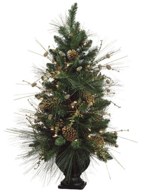 40 pre decorated gold pine cone artificial christmas tree clear lights