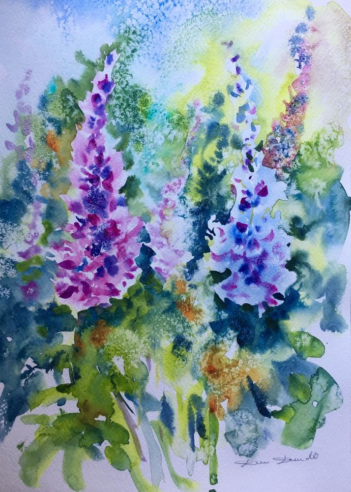 Aquarelle Originale Dam Domido Fleurs Flower Akoun Artprice
