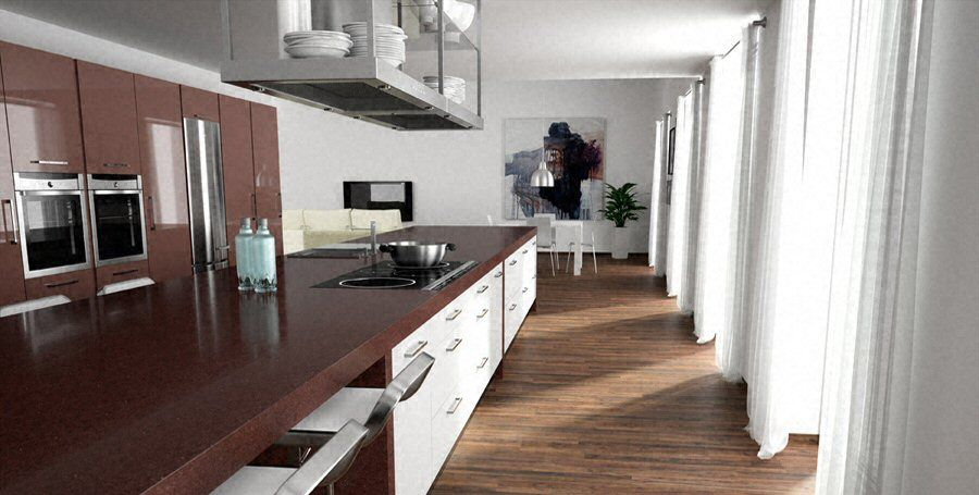 Cuisine - Plan de travail de cuisine moderne, foncé, en quartz - Table De Cuisine Avec Plan De Travail
