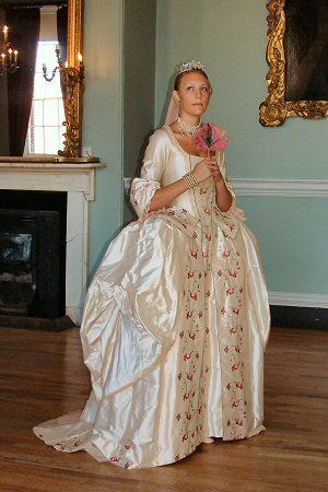A stunning eighteenth century style wedding dress in cloud pink ...