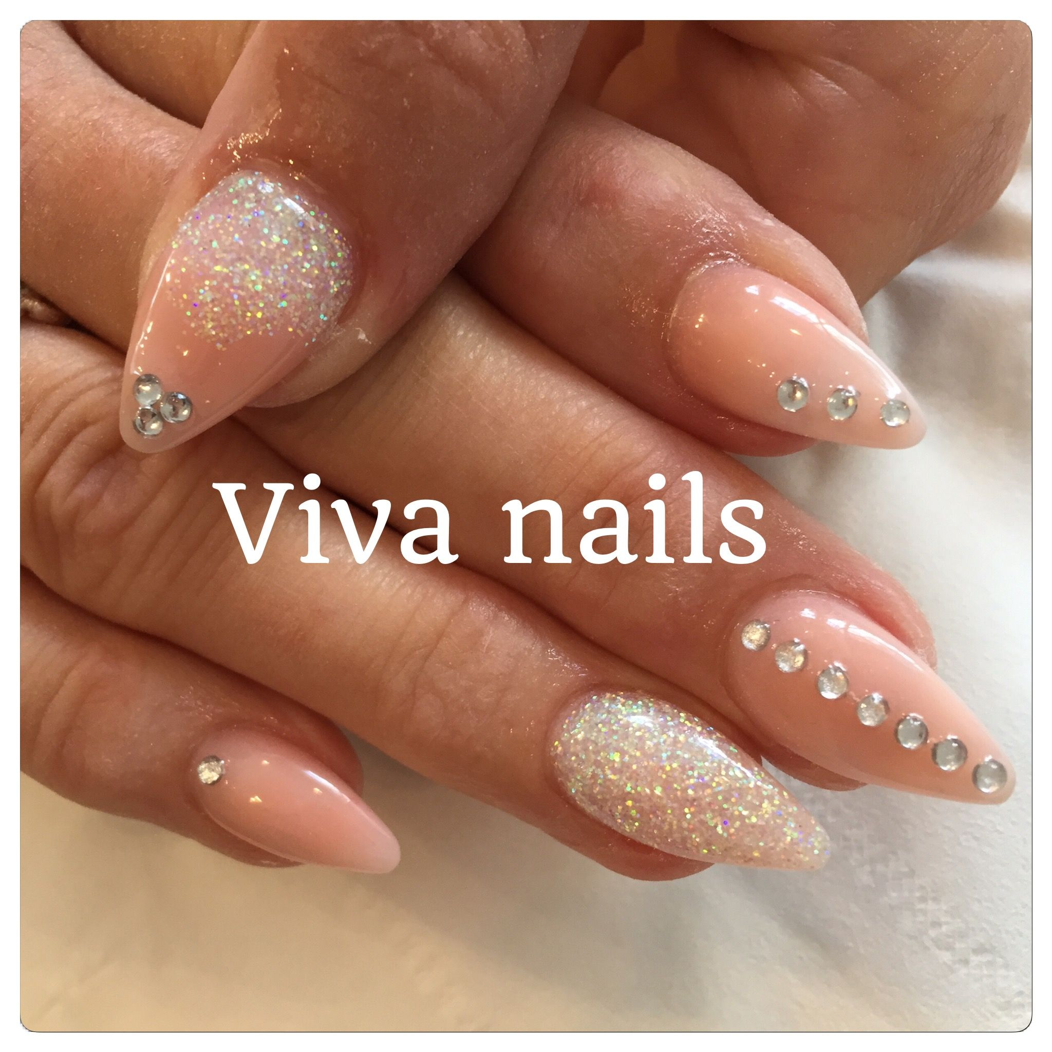 almond #acrylic #nails #nude #iridescent #glitter #nailart #diamonds ...