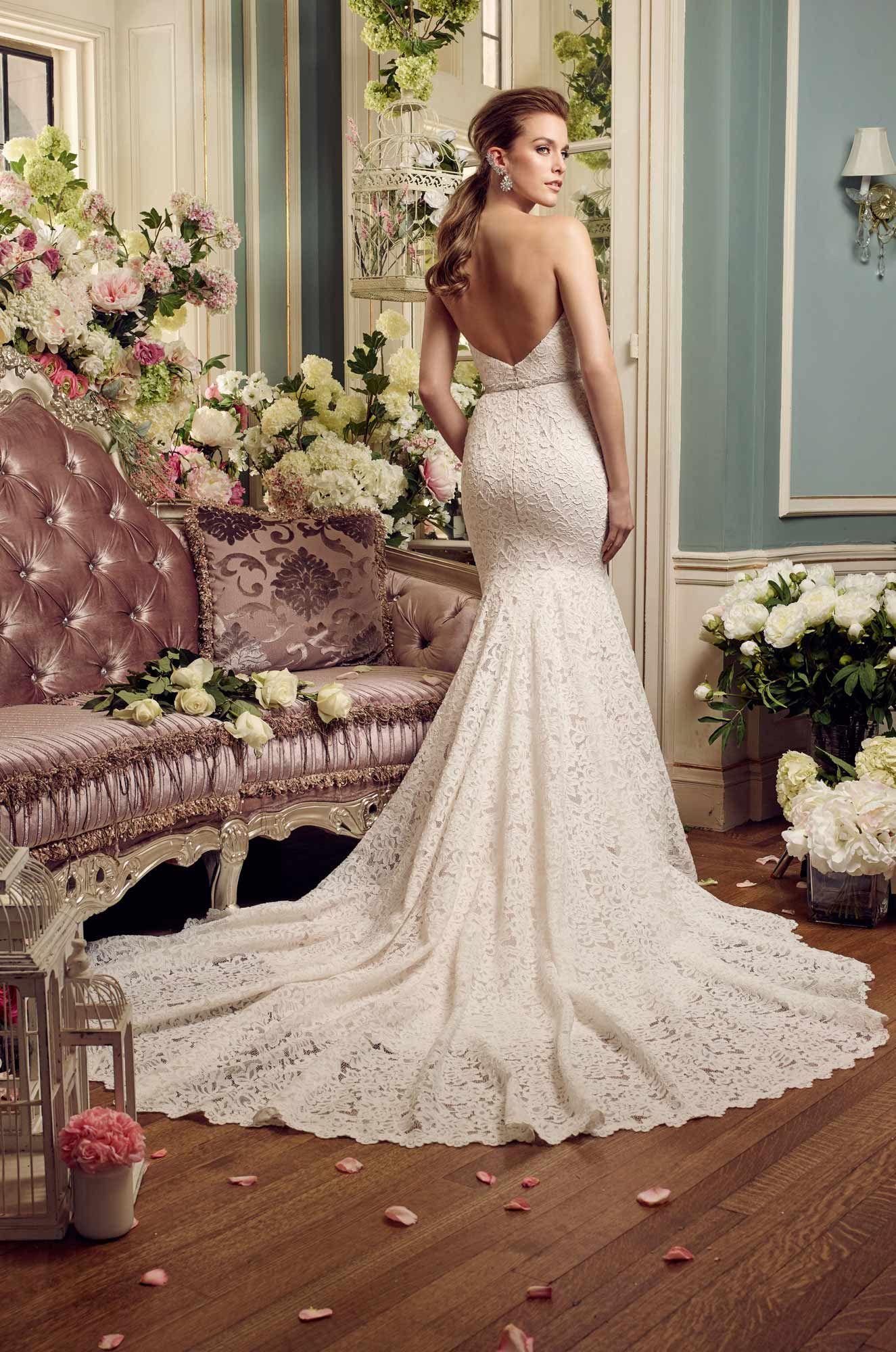 Strapless Lace Wedding Dress Style 2165 Mikaella Bridal