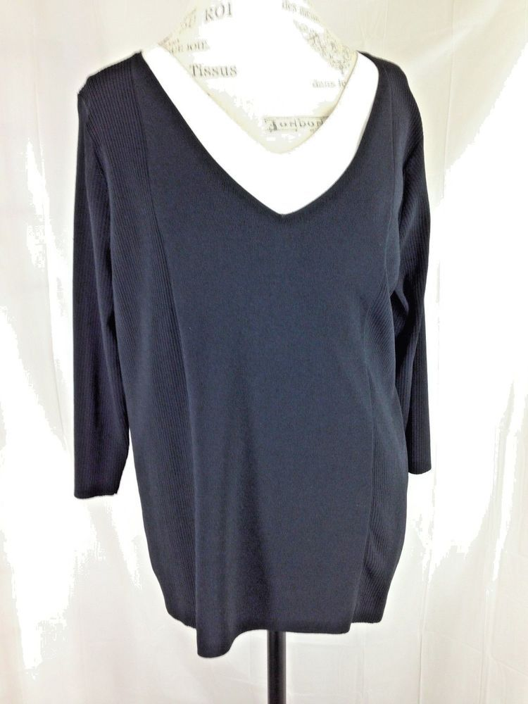 b43b96bfb6e Grace Dane Lewis Woman 2X Black V-Neck Sweater Ribbed Knit Rayon White Trim   GraceDaneLewis  career