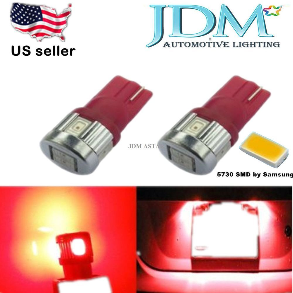 JDM ASTAR 2x New Super Bright T10 5730 SMD 194 168 2825 Red LED Dome