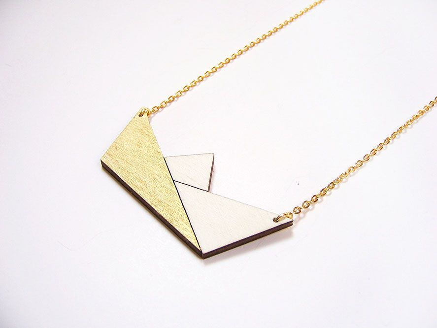 hand painted laser cut plywood pendant origami boat
