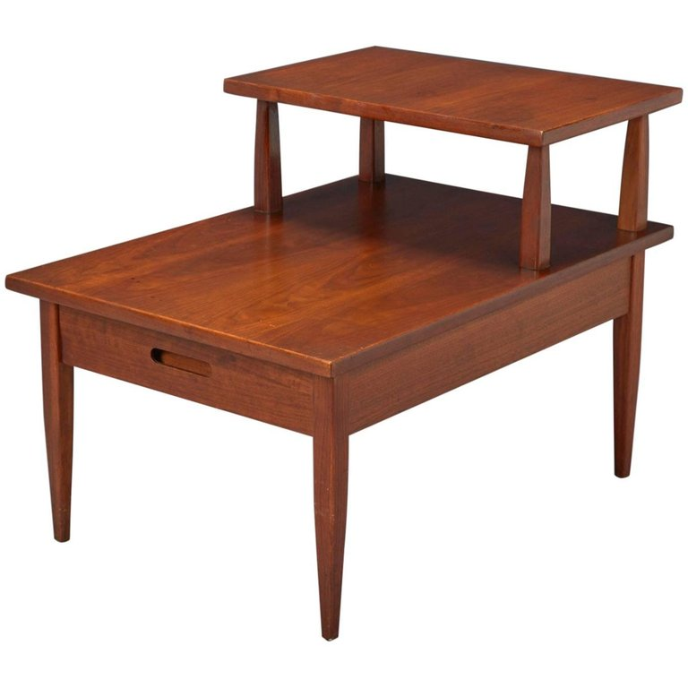 Walnut Two Tiered Side Table Attributed To T H Robsjohn Gibbings For Widdicomb Modern Side Table Midcentury Modern Mid Century Modern Side Table