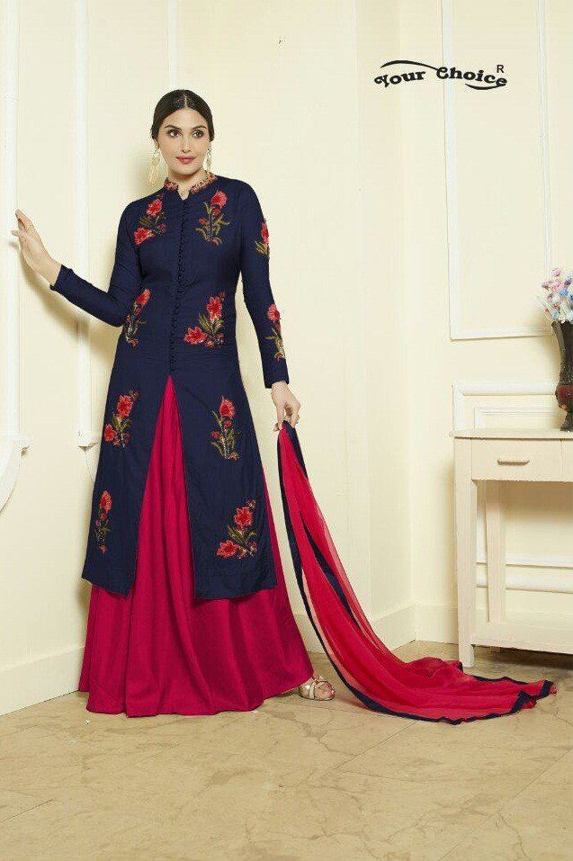Latest Designer Blue Color Indo Western Dress for Women.