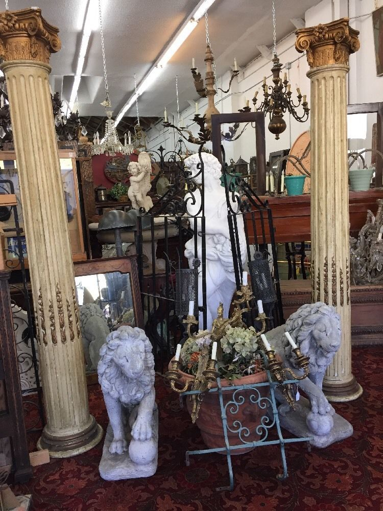 Decorative Fluted Wood Columns With Caps in Antiques