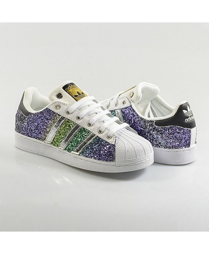 Cheap Adidas Superstar Glitter Purple Green White Womens Trainers ... 423b1ffffc