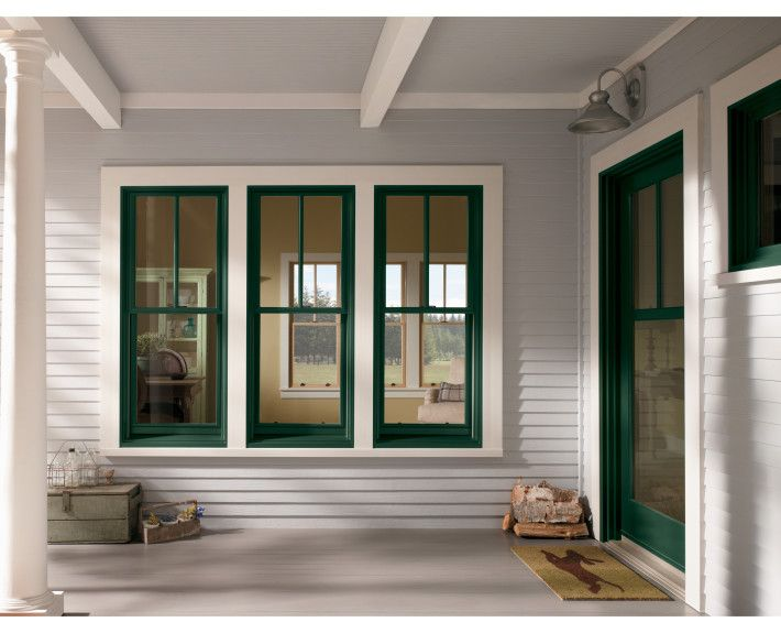 Andersen Windows 400 Series Forest Green Patio Door 2x1 Grille Pattern In The