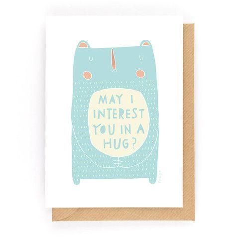 MAY I INTEREST YOU IN A HUG? - Greeting Card www.freya-art.com