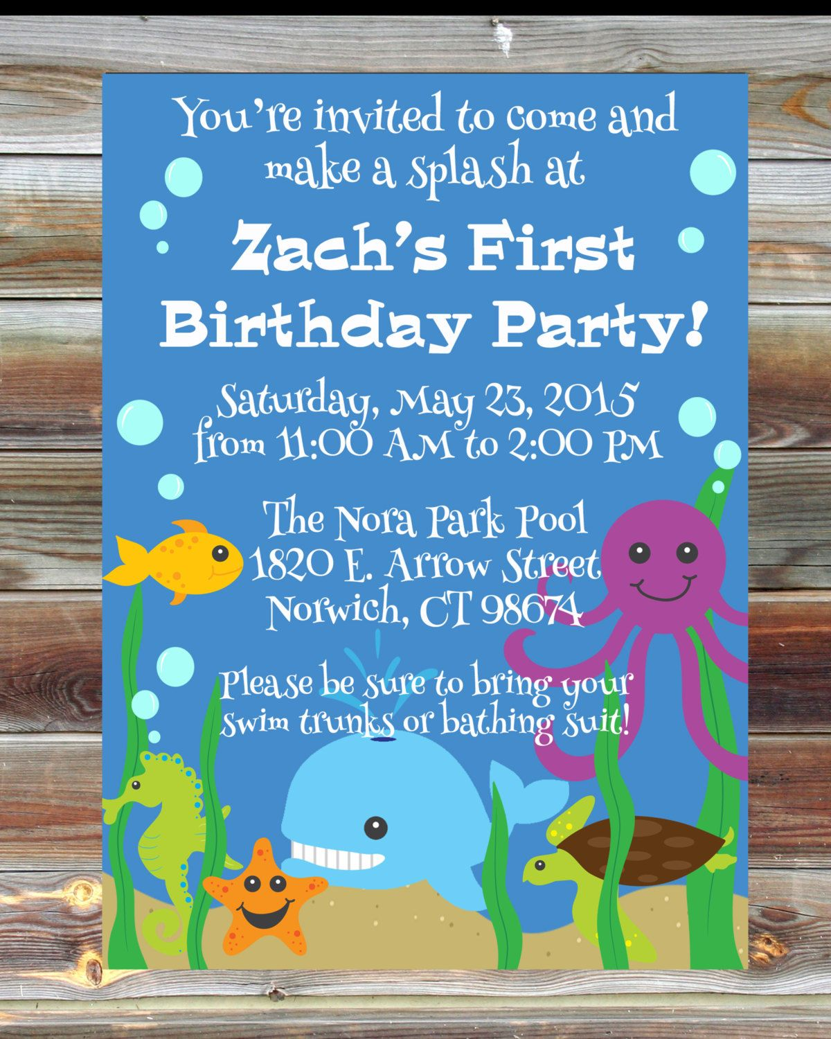Printable Custom First Birthday Ocean Invitation For Boy
