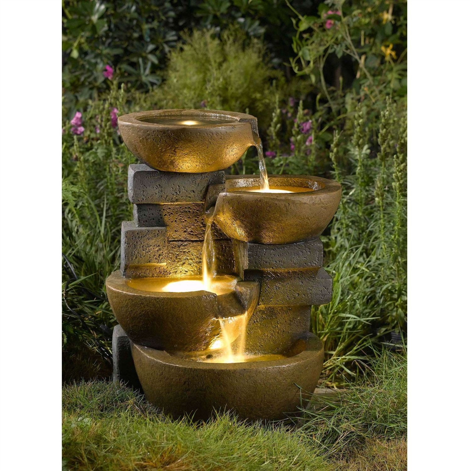 Indoor / Outdoor 4 Tier Pots Water Fountain With LED Lights