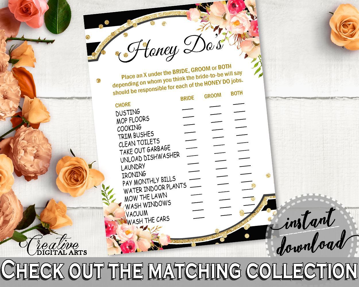 Wedding decorations list  Honey Do List in Flower Bouquet Black Stripes Bridal Shower Black