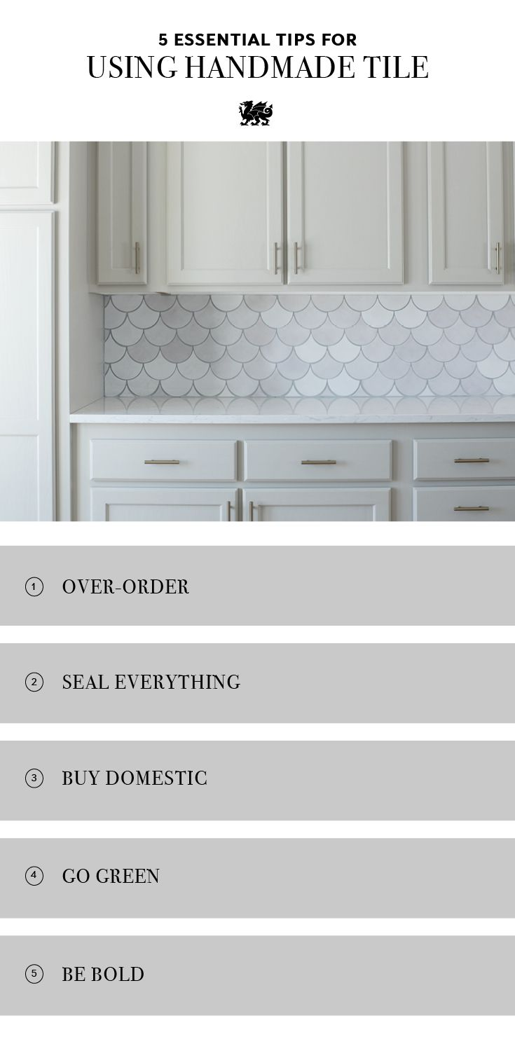 Choosing tile for your kitchen backsplash? Follow these five essential tips for using handmade tile in your kitchen remodel. 1. Over-order because every ...