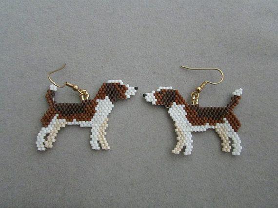 Beaded Beagle Earrings by DsBeadedCrochetedEtc on Etsy