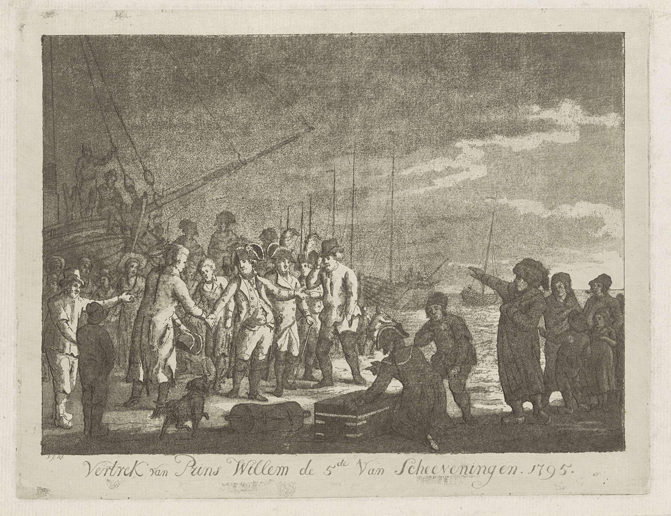 Johannes Jelgerhuis | Prins Willem V vertrekt vanuit Scheveningen, 1795, Johannes Jelgerhuis, 1795 | Vertrek van prins Willem V vanaf het strand van Scheveningen naar Engeland, 18 januari 1795. De stadhouder neemt op het strand afscheid tussen het toegestroomde publiek. Links wacht de pink.