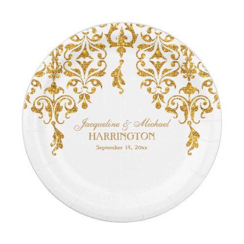 Leaf Damask Art Nouveau Glitter Reception Decor Paper Plate  sc 1 st  Pinterest & Leaf Damask Art Nouveau Glitter Reception Decor Paper Plate | Formal ...