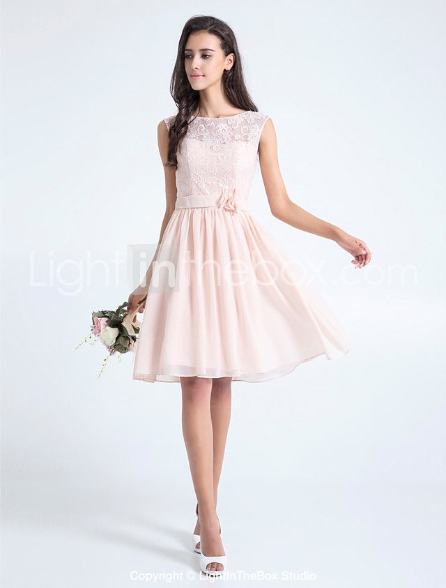 A-Line Scoop Neck Knee Length Lace Bridesmaid Dress with Flower(s ...