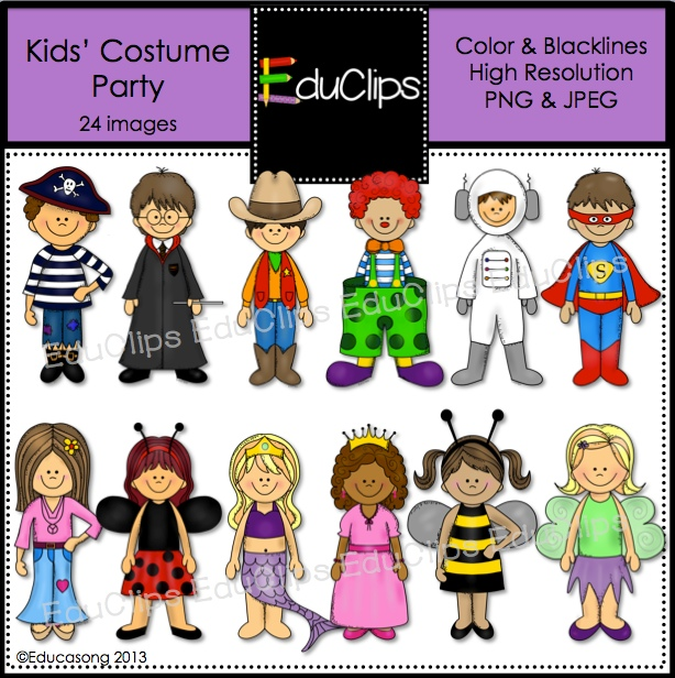 EDUCASONG : New Kids Costume Party Clip Art FREE for 24 hours only ...