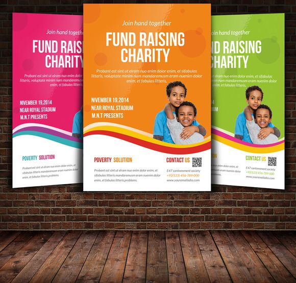 Charity Flyer Template Graphic Design Fonts Logos Icons