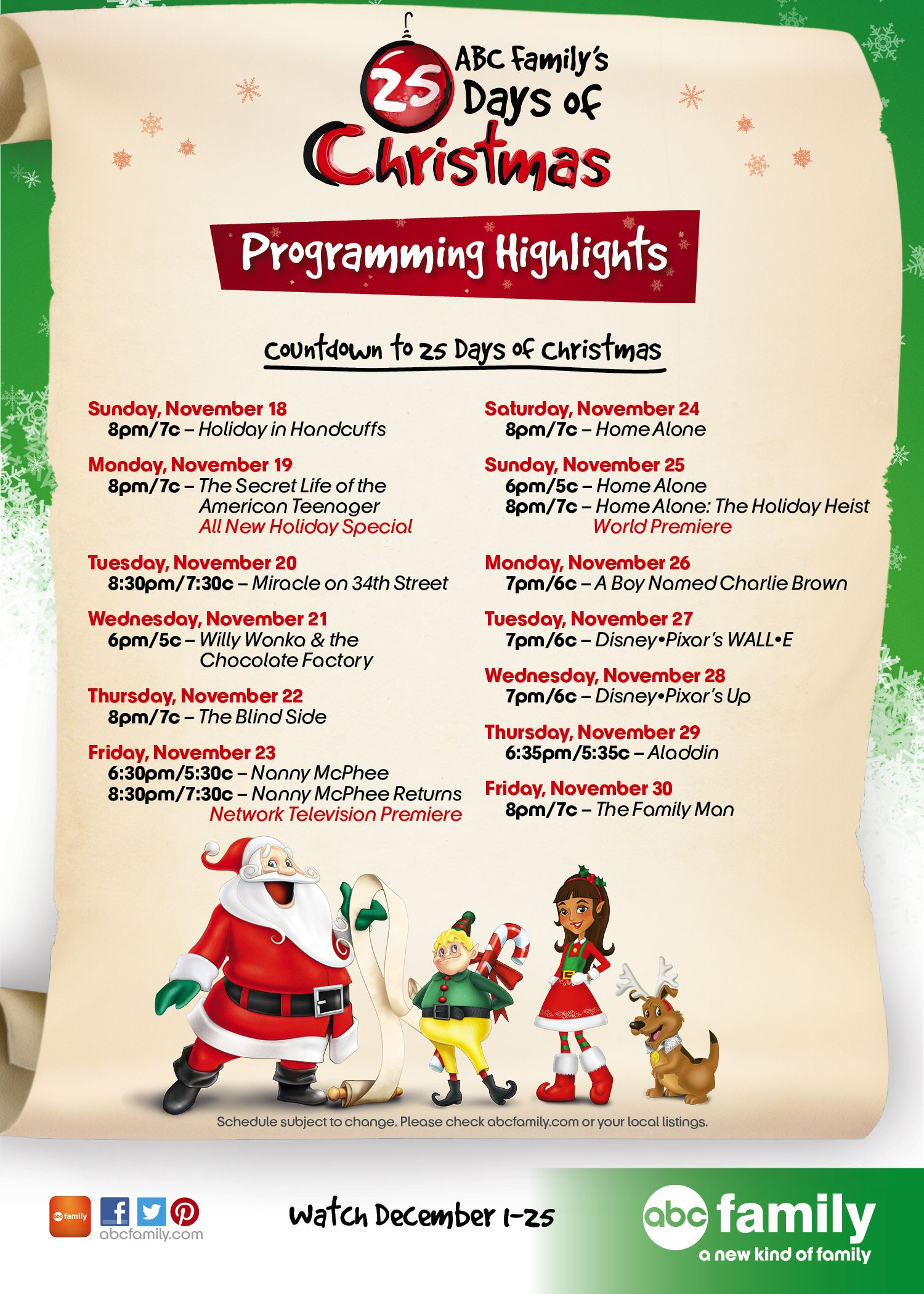 Countdown To 25 Days Of Christmas Programming Highlights 2012