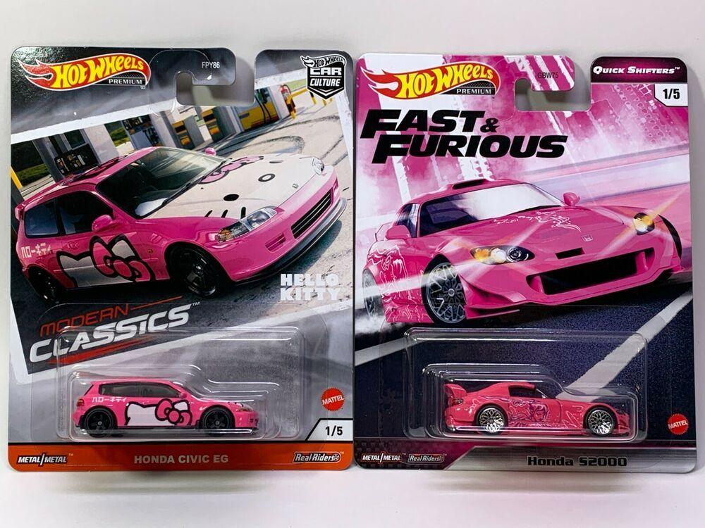 2 Hot Wheels Honda Civic Eg Hello Kitty And Fast Furious Honda S2000 Pink Hotwheels Honda Honda Civic Hot Wheels Civic Eg