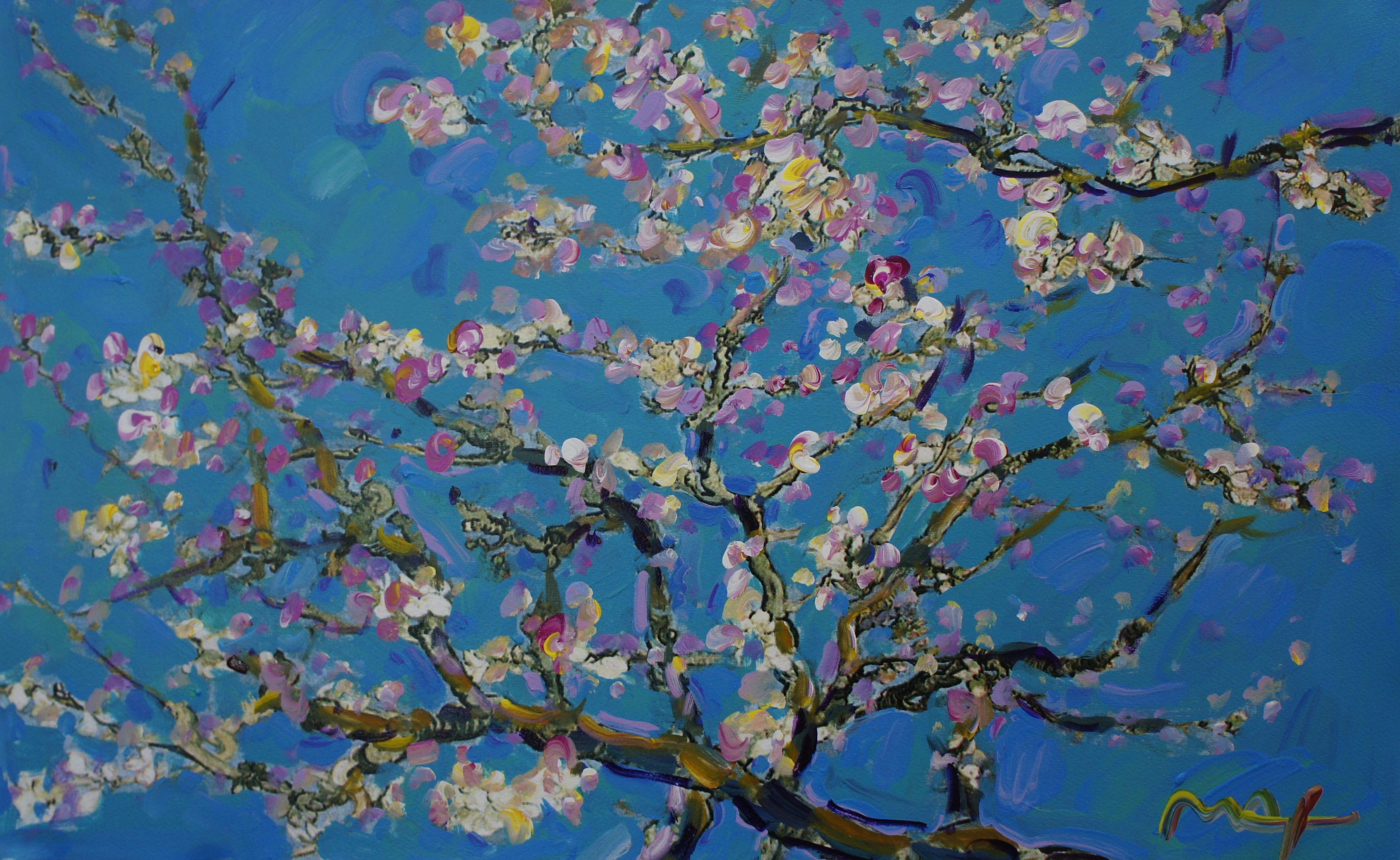 homage to van gogh almond blossom ver i 1 peter max 16 x 25 7 mixed media on paper j. Black Bedroom Furniture Sets. Home Design Ideas