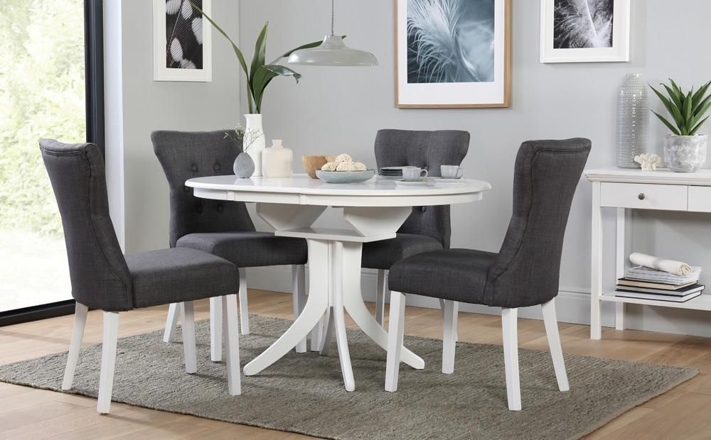 Hudson Round White Extending Dining Table with 4 Bewley ...