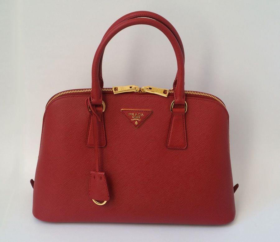 Prada Medium Saffiano Fuoco Red Promenade Handbag
