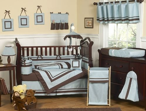 Blue And Brown Hotel Modern Baby Bedding 9 Pc Crib Set Only 65 17 Modern Baby Bedding Baby Boy Crib Bedding Sets Baby Boy Crib Bedding