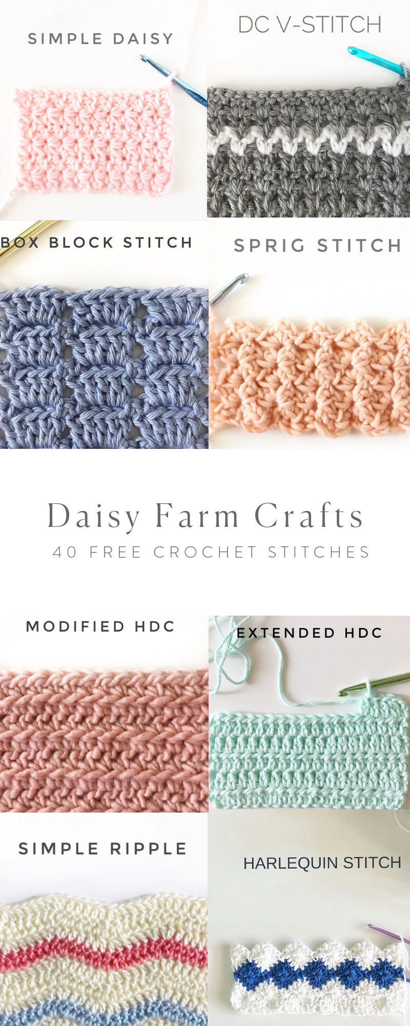 40 Free Crochet Stitches from Daisy Farm Crafts | Crocheting ...