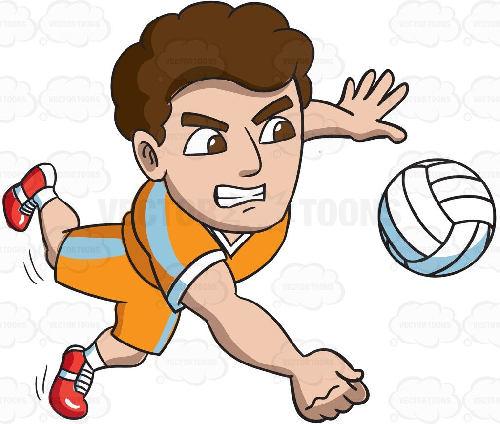 A Male Volleyball Athlete Goes For A Dig Cartoon Character Design Volleyball Character Design