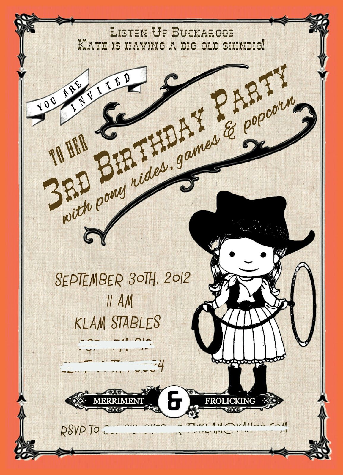 Cowgirl Birthday Party Invites   July\'s event   Pinterest   Cowgirl ...