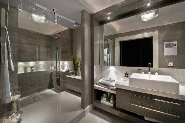 Banheiros escuros  Fendi, Toms e Madeira -> Banheiros Modernos Escuros