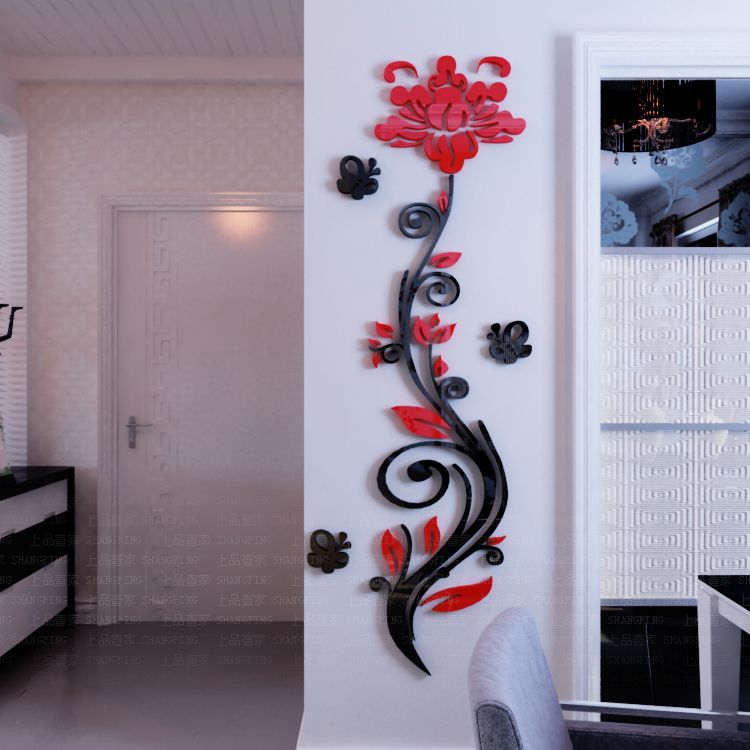 2015 Rose Flower Vine Wall Stickers 3d Crystal Acrylic