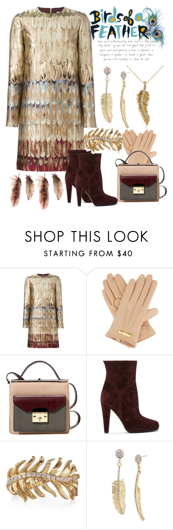 """""""Birds of a Feather...."""" by mdfletch ❤ liked on Polyvore featuring Valentino, Ted Baker, Brian Atwood, Mimi So, Betsey Johnson, Allurez and birdsofafeather"""