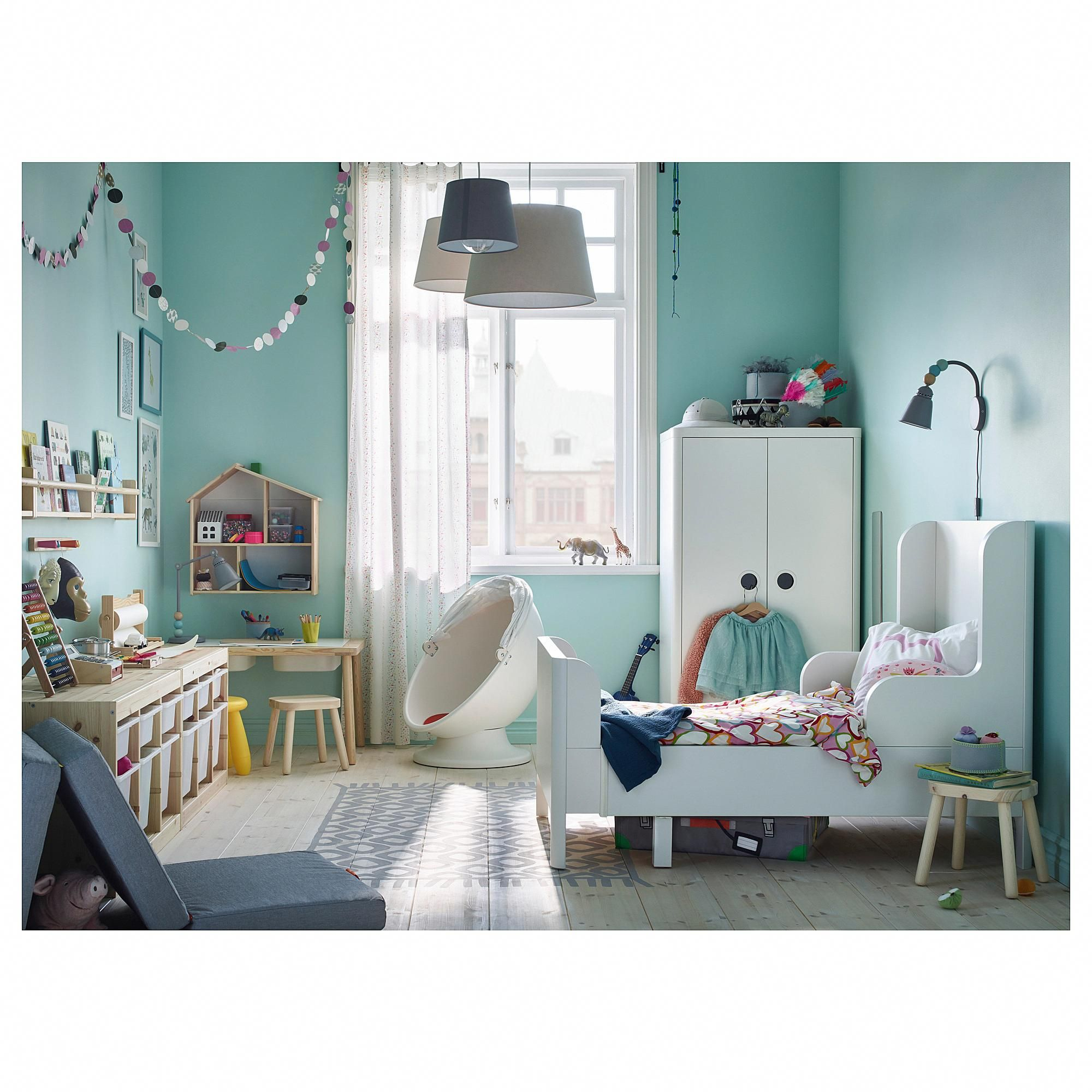 IKEA BUSUNGE Extendable bed white childrenroom in 2020